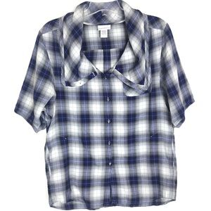 Soft Surroundings blue plaid wide collar shirt S